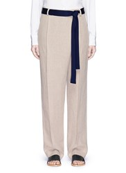 Victoria Beckham Foldover Front Relaxed Linen Pants Brown