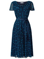 Jacques Vert Soft Prom Spot Dress Navy