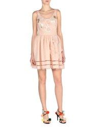 Fendi Sleeveless Jacquard Dress W Mink Fur Trim Pink