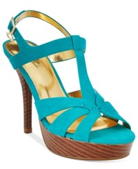 Thalia Sodi Raquell T Strap Platform Dress Sandals Only At Macy's Women's Shoes Teal