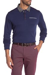 English Laundry Long Sleeve Jacquard Knit Polo Medieval Blue