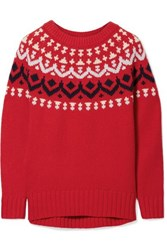 J.Crew Ivan Fair Isle Merino Wool Blend Sweater Red