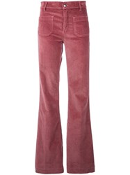 The Seafarer Flared Corduroy Trousers Pink And Purple