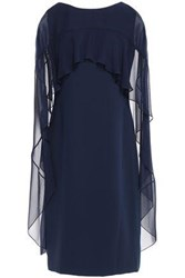 Reem Acra Woman Cape Effect Chiffon Paneled Cady Dress Navy