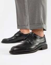 Selected Homme Leather Brogue Shoe Black