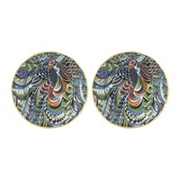 Bitossi Patterned Side Plates With Gold Rim Set Of 2 Fenice