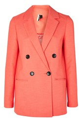Topshop Double Breasted Suit Jacket Bright Coral
