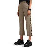 R 13 Leopard Trimmed Houndstooth Plaid Wool Pants Multi