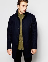 Produkt Funnel Neck Wool Overcoat Navy