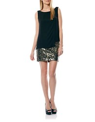 Laundry By Shelli Segal Sequined Sheath Dress Black Gold