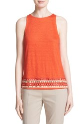 Women's Tory Burch 'Jackie' Linen Tank Poppy Red