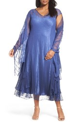 Komarov Plus Size Women's Charmeuse A Line Dress And Chiffon Shawl