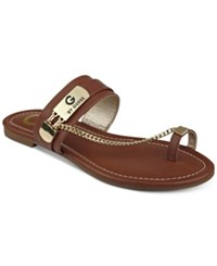 G By Guess Loren Toe Ring Sandals Women's Shoes Brown