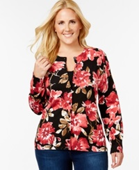 Karen Scott Plus Size Printed Button Down Cardigan Only At Macy's