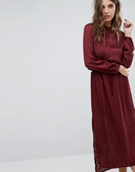 Sisley Maxi Dress In Burn Out Animal With Tie Waist Red