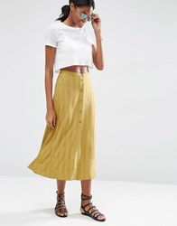 Asos Button Through Midi Skirt Khaki