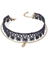 Inc International Concepts Gold Tone Crochet Pendant Choker Necklace Only At Macy's Black