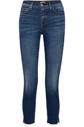 L'agence Nicoline Cropped High Rise Straight Leg Jeans Dark Denim