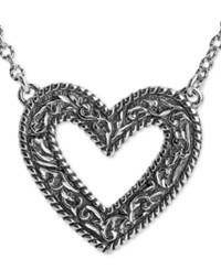 American West Decorative Open Heart 22 Pendant Necklace In Sterling Silver
