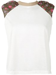 Kolor Floral Accent Crew Tank Women Cotton Polyester 3 White