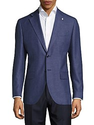 Lubiam Wool Blend Textured Sportcoat Denim