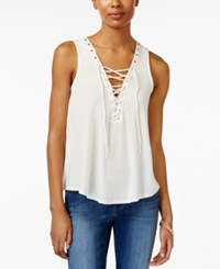 Amy Byer Bcx Juniors' Sleeveless Lace Up Top White
