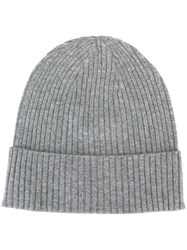 Closed Ribbed Beanie Hat Grey