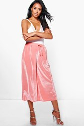 Boohoo Velvet Ribbed Wide Leg Cropped Trousers Peach