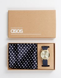 Asos Watch And Pocket Square Set In Navy Blue