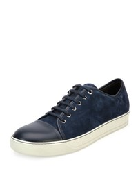 Lanvin Men's Suede Cap Toe Low Top Sneaker Blue 29 Navy Bl