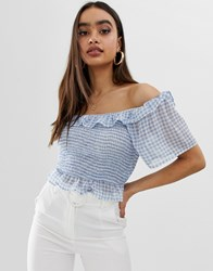 Fashion Union Bardot Ruched Crop Top In Gingham Blue