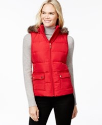 Charter Club Hooded Quilted Vest Faux Fur Trim Only At Macy's New Red Amore