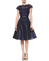 Rickie Freeman For Teri Jon Cap Sleeve Lace Bejeweled Waist Cocktail Dress Navy