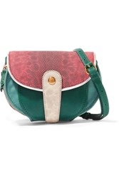 Jerome Dreyfuss Momo Mini Snake And Textured Leather Shoulder Bag Green