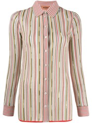 Missoni Striped Button Shirt Green