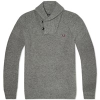 Fred Perry Fisherman Shawl Collar Knit Grey