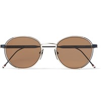 Thom Browne Round Frame Silver Tone Sunglasses Silver