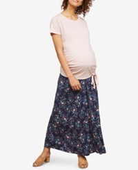 Motherhood Maternity Printed Maxi Skirt Navy Floral Print