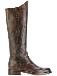 Officine Creative Knee Boots Women Calf Leather Horse Leather Leather Rubber 38.5 Brown