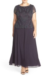 Pisarro Nights Plus Size Women's Beaded Mock Two Piece Gown Eggplant