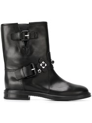 Casadei Flower Applique Boots Black