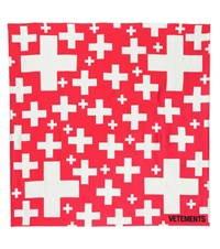 Vetements Swiss Cross Silk Scarf Red