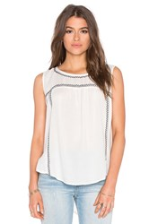 Velvet By Graham And Spencer Asera Embroidered Crepe Sleeveless Top Ivory
