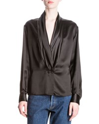 Loewe Silk Shawl Collar Blouse Black