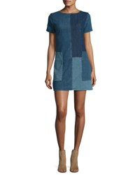 J Brand Luna Rosemary Patchwork Denim Shift Dress Blue Pattern