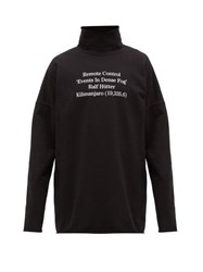 Raf Simons Poem Print High Neck Cotton Jersey Sweatshirt Black
