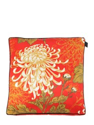 Midsummer Milano Mixed Dahlia Cotton And Silk Accent Pillow Red Multi