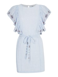 Suncoo Cassandre Tie Embroidered Dress Blue