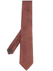Canali Patterned Silk Tie Red