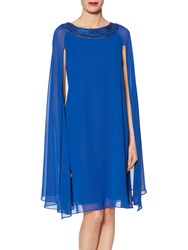 Gina Bacconi Molly Sequin Neck Cape Dress Lapis Blue